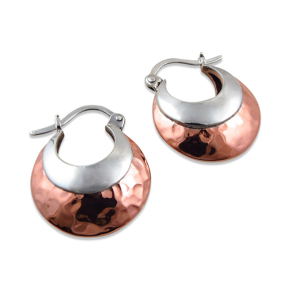 Creole 925 Sterling Silver and Hammered Copper Hoop Earrings
