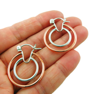 Hoops 925 Sterling Silver and Copper Double Circle Hoop Earrings