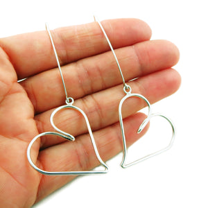 Long Love Heart Threader 925 Sterling Silver Drop Earrings Gift Boxed