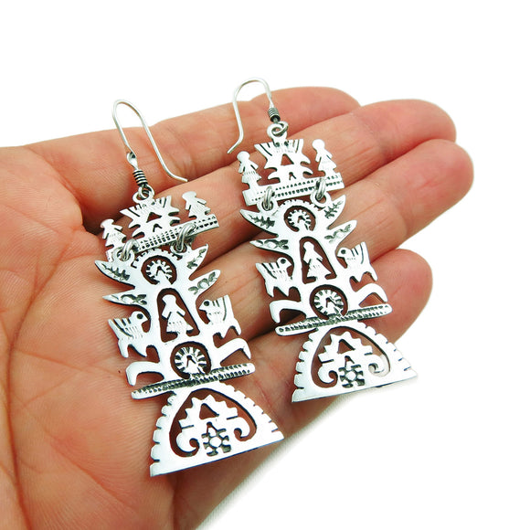 Tree of Life 925 Sterling Taxco Silver Earrings