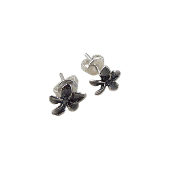 Small Two Tone 925 Silver Flower Stud Earrings
