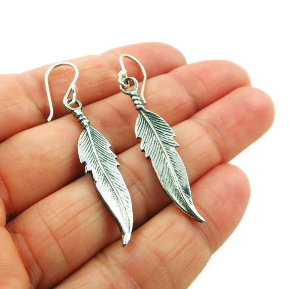 Feather 925 Sterling Silver Earrings