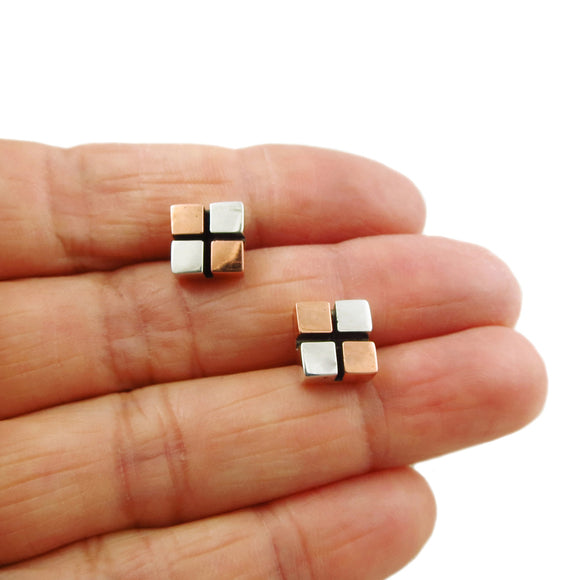Modernist 925 Silver and Copper Square Stud Earrings Gift Boxed
