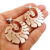 Large 925 Silver and Copper Swirl Earrings