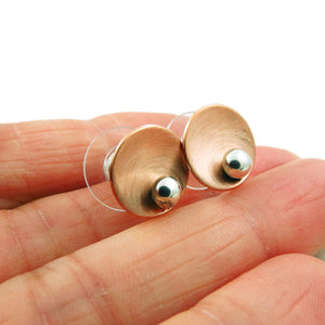 925 Silver and Brushed Copper Designer Circle Stud Earrings
