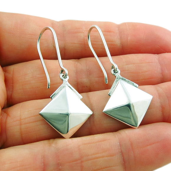Long 925 Sterling Taxco Silver Square Drop Earrings