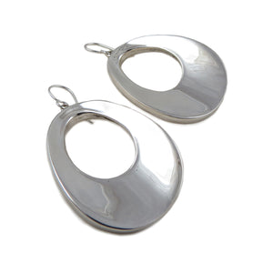 Large Three-Dimensional 925 Sterling Silver Drop Earrings Gift Boxed