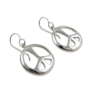 Peace Sign 925 Sterling Silver Earrings Gift Boxed