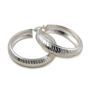 Large 925 Sterling Silver Curved Hoop Earrings Gift Boxed