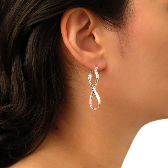 Figure of Eight 925 Sterling Silver Infinity Drop Earrings