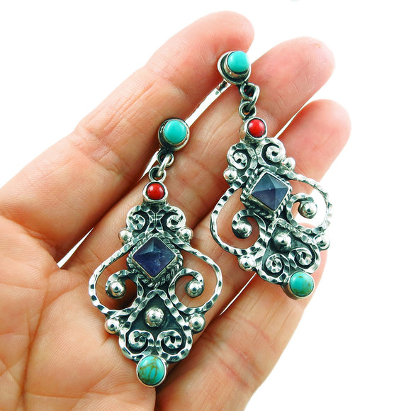 Taxco 925 Sterling Silver Matl Inspired Long Drop Earrings