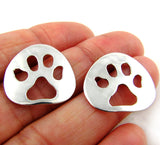 Solid 925 Silver Animal Paw Print Cut Out Drop Earrings