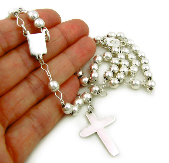 Long 925 Sterling Silver Rosary Chain and Cross Necklace