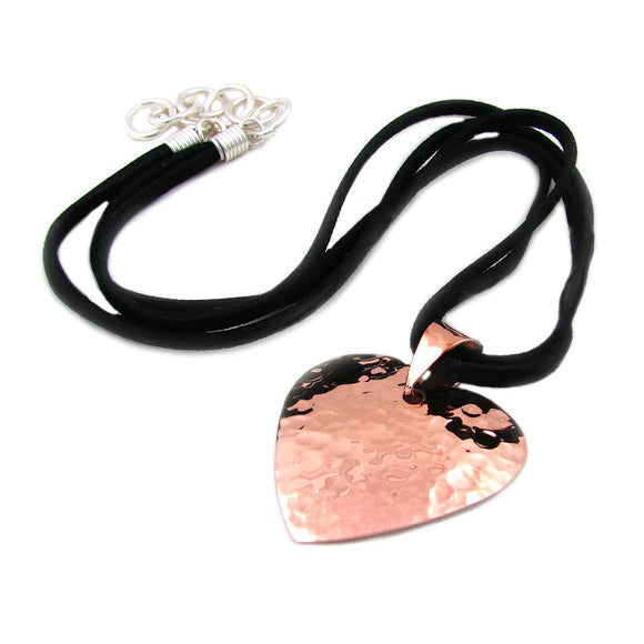 Solid Copper Love Heart and Black Suede Cord Necklace