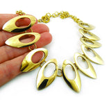 Large Solid Brass Polished Drop Necklace