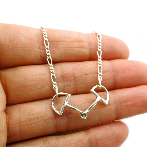 925 Silver Horse Tack Snaffle Bit Chain Necklace