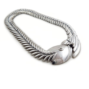 Long 925 Sterling Silver Flexible Fish Skeleton Necklace