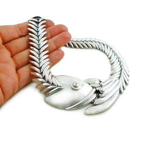 Long 925 Sterling Taxco Silver Flexible Fish Necklace