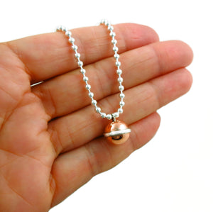 925 Silver and Copper Ball Bead Chain Necklace