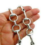 Heavy 925 Sterling Silver Horsebit Snaffle Riding Bit Necklace