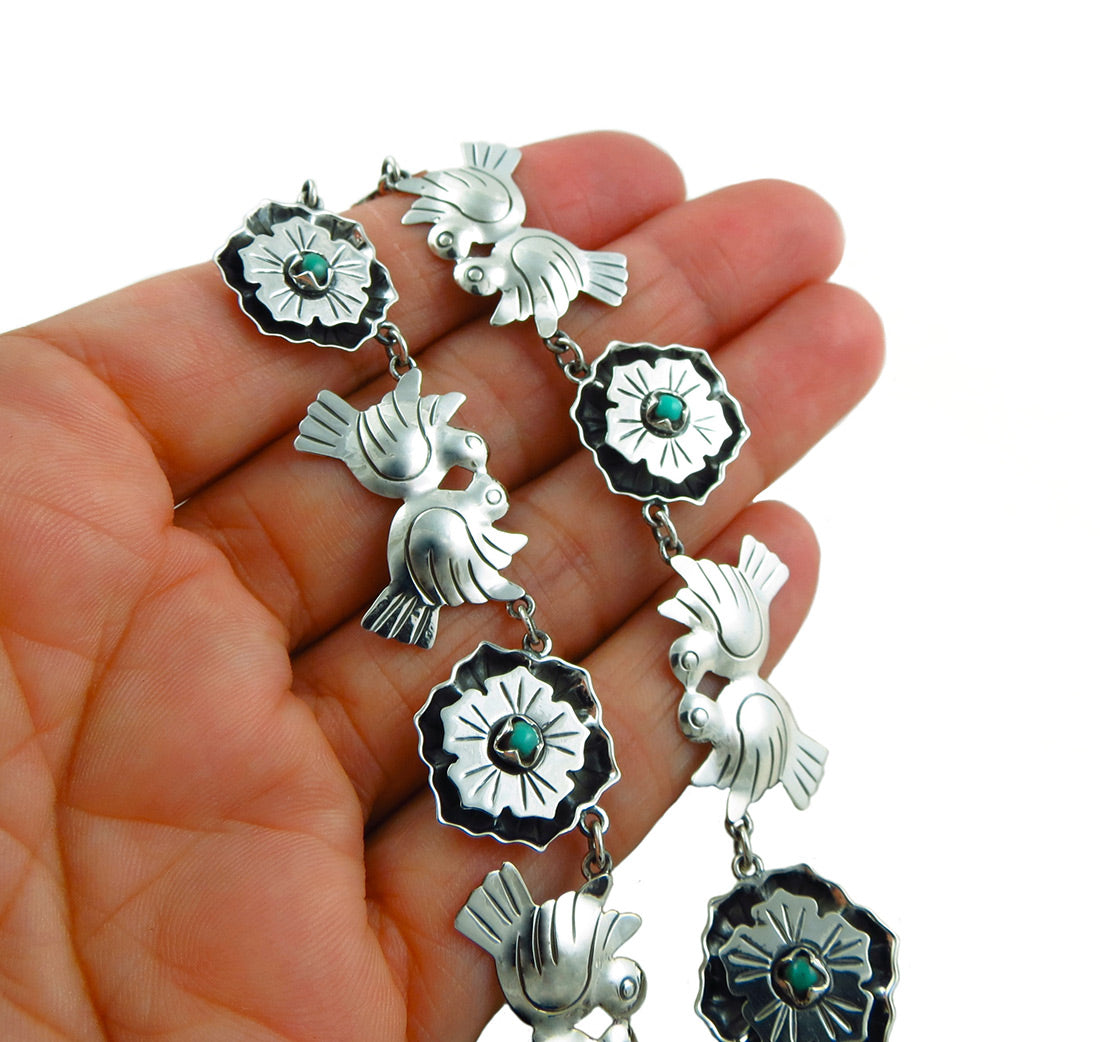 eb87c97eb8c2 ... 925 Sterling Taxco Silver and Turquoise Maria Belen Love Birds Necklace  ...