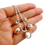 Copper and 925 Silver Ball Bead Drop Necklace