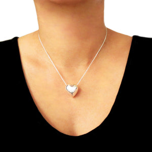 Love Heart 925 Sterling Silver Curb Chain Necklace