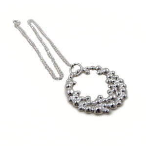 925 Sterling Silver Bubble Circle and Curb Chain Necklace