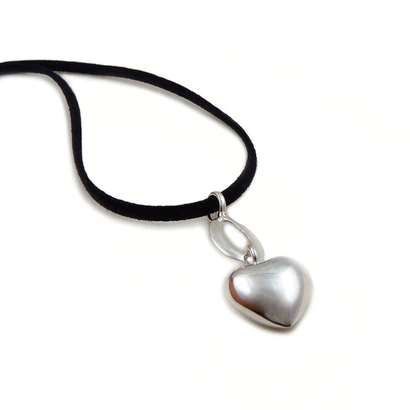 Long 925 Sterling Silver Love Heart and Black Suede Cord Necklace