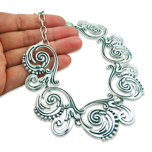 Maria Belen 925 Sterling Taxco Silver Large Flower Necklace Gift Boxed