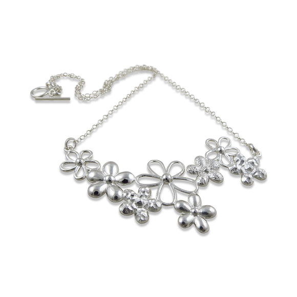 Pretty 925 Sterling Silver Daisy Flowers and Chain Necklace
