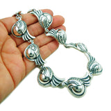 Heavy Deco 925 Sterling Taxco Silver Beads and Scroll Necklace Gift Boxed