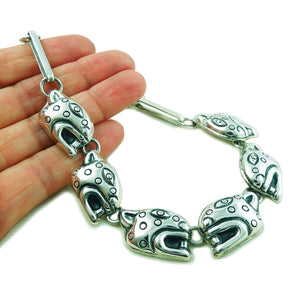 Large Maria Belen Taxco 925 Sterling Silver Jaguar Necklace Gift Boxed