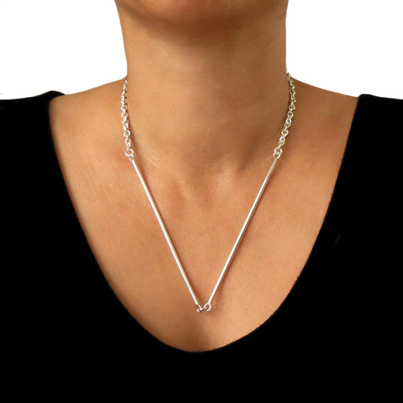 Long Solid 925 Sterling Silver Modernist Stick Necklace Gift Boxed