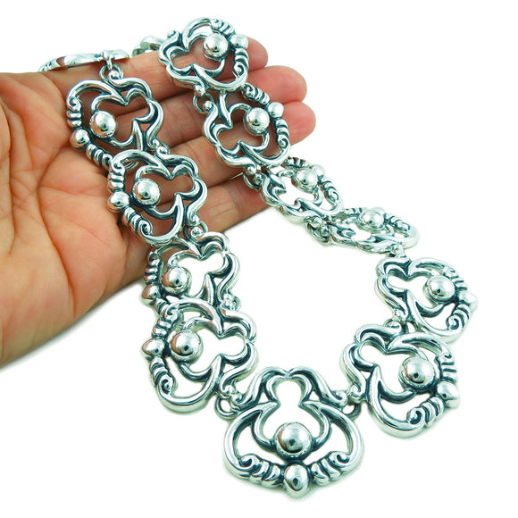 Large 950 Silver Melesio Rodriguez Taxco Scroll and Bead Necklace Gift Boxed