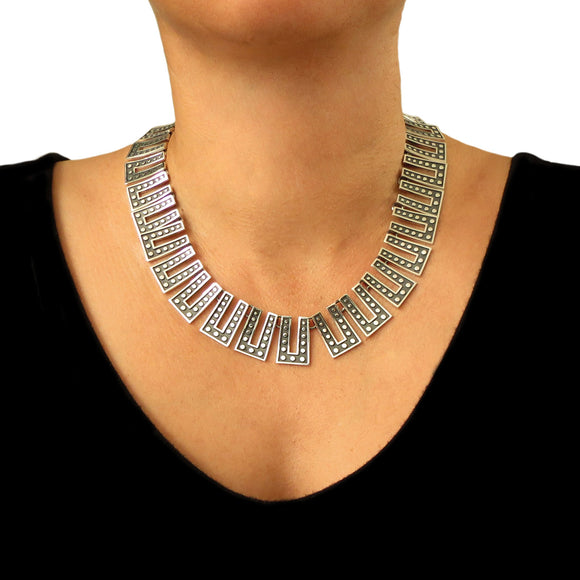 Melesio Rodriguez Taxco Sterling 925 Silver Domino Two Tone Necklace