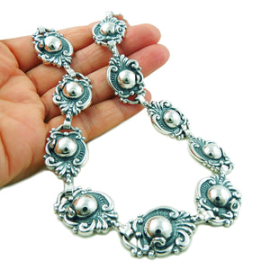 950 Sterling Taxco Silver Designer Scroll and Bead Necklace Gift Boxed
