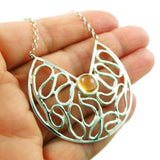Amber and 925 Sterling Silver Designer Chain Necklace Gift Boxed