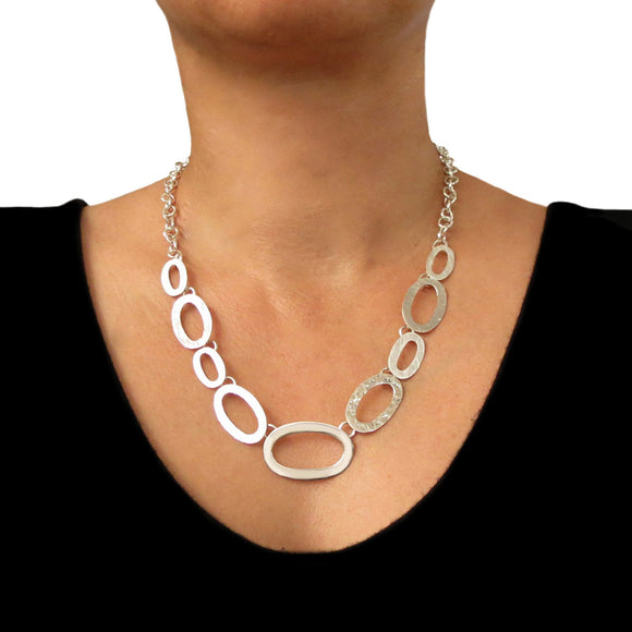 Hallmarked Large 925 Sterling Silver Wide Link Chain Necklace