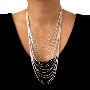 Long 925 Sterling Silver Multi Strand Drop Necklace Gift Boxed