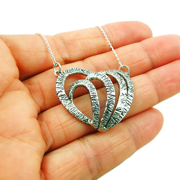 Solid 925 Sterling Silver Love Heart Curb Chain Necklace