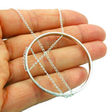 Long Geometric Circle and Chain 925 Sterling Silver Necklace