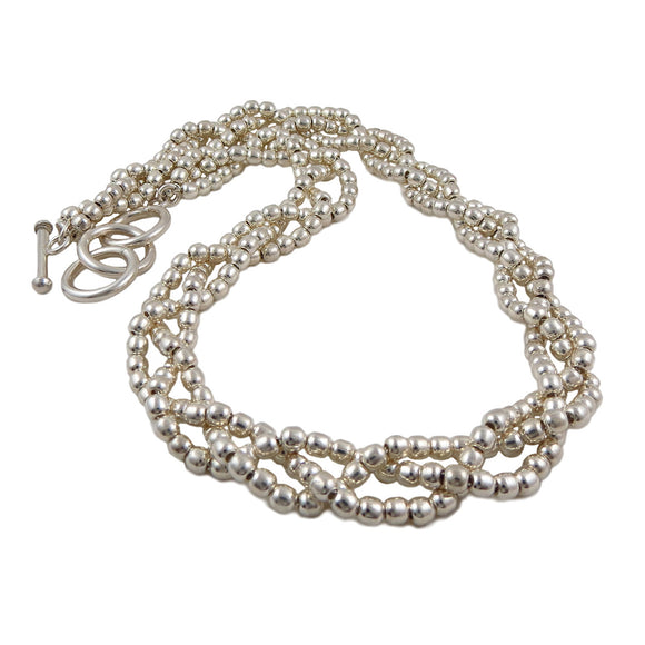 Ball Bead Hallmarked Sterling 925 Silver Twisted Strand Necklace
