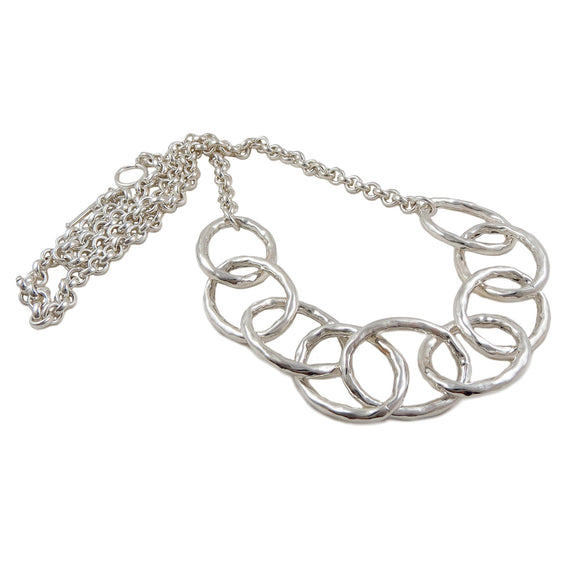 Extra Long Hoop and Chain 925 Sterling Silver Necklace