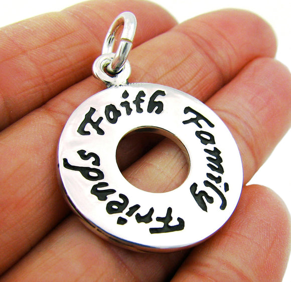 925 Sterling Silver Inscribed Faith Family Friends Pendant