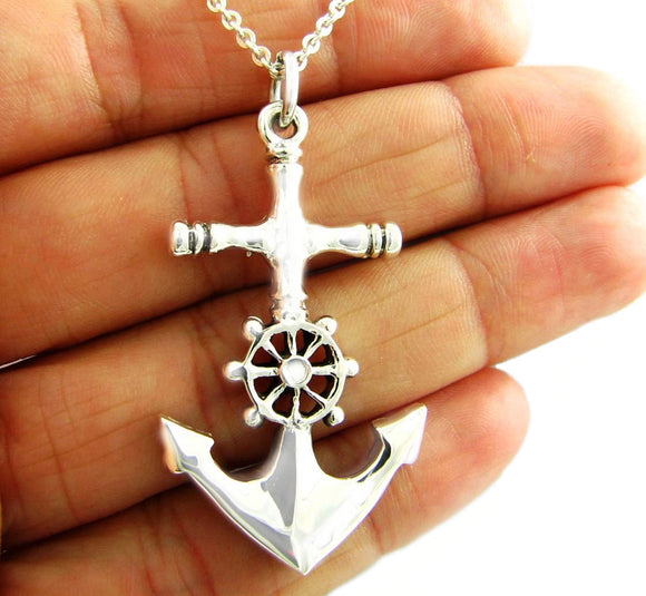 Sterling 925 Silver Nautical Design Anchor Drop Pendant