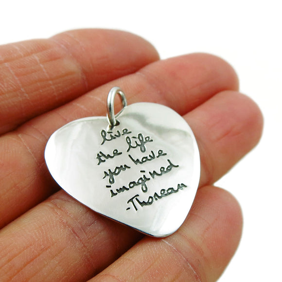 Sterling 925 Silver Inscribed Heart Pendant