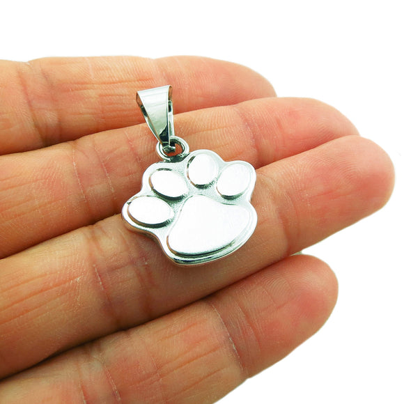 925 Sterling Silver Cat Dog Animal Paw Print Pendant