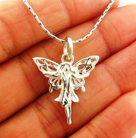Pretty Solid 925 Mexican Silver Fairy Pendant