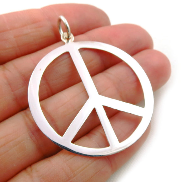 Peace Sign 925 Sterling Silver CND Symbol Pendant